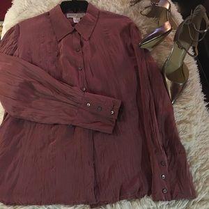 Jones wear-100% silk button down shirt. Sz 12🦁
